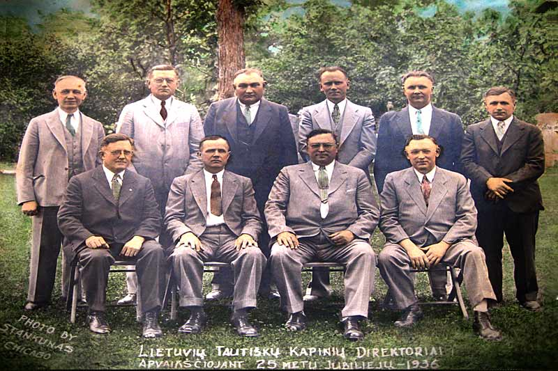 The Board of Directors, 1936. Seated, (L to R): A. Bubinas, J. Zalatoris, Ed. Cepulis, J. Balchunas. Back row: J. Skutas, A. Tamkevicius, M. J. Liubinas, A. Rimkus, P. Daubaras, K. Matekonis.
